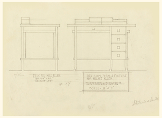Page divided into two registers horizontally about 2/3 down the page. Upper register, left: side view of desk with open left side and cubbies above surface visible; right: front view of desk, cubbies above writing surface and drawer below writing surface visible. Column of four small drawers at right side of desk.
