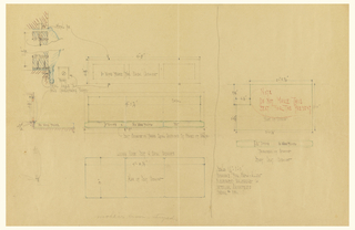 Elevation, cross section, plan and detail of living room seat.