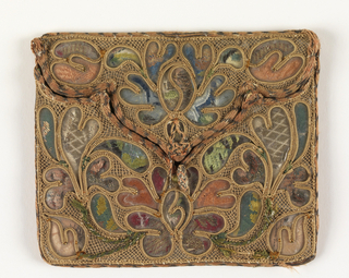 A purse in envelope form with a three-lobed flap. Small fragments of 18th century dress brocades are covered with mica to fill openings in straw needle lace. Edged with silk and metal braided cord; lined with green silk.