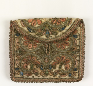 Rectangular purse with half-circle flap in white silk, embroidered in pink and blue silk and gold metallic thread, strip, coiled wire and spangles, and egded with woven metallic trim. Symmetrical design of scrolls and flowers;  red silk lining.