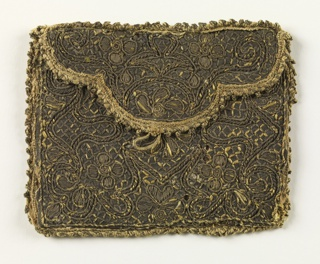 Small case covered with embroidery in an allover design of four-petal flowers in compartments and against trellis. Picot edging.