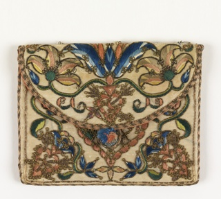 Letter case with embroidery in colored silks and metallic thread in design of flowers and a coat of arms.