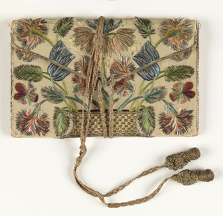 White silk letter case embroidered in polychrome silks and metal threads with a basket of flowers, in the same design on both sides. Fastening of silk and metal braid with tassels; lined with pink silk.