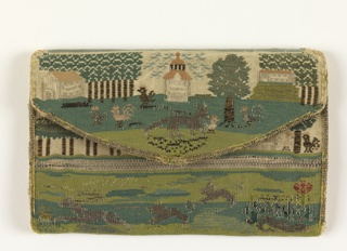 Cover of silk and metal thread in tapestry weave, depicting a landscape and animals; paper lining.
