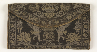 Pocketbook woven with tete-de-nègre horsehair and gold and silver-wrapped thread. Areas of pink, yellow, and green silk. On one side, a crowned coat of arms flanked by lions and garlands of fruit and flowers. On other side, a crown supported by cupids, flowers and garlands.