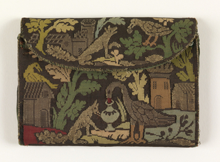 """Oblong flat pouch with silk and metallic thread showing a design of """"the Fox and the Grapes,"""" in red, green, shades of blue and yellow on dark background. Same pattern on both sides."""