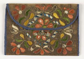 Leather letter case with embroidered floral design, which is the same on both sides. Edged with blue fabric and embroidery in pink, green, yellow, blue, and white.