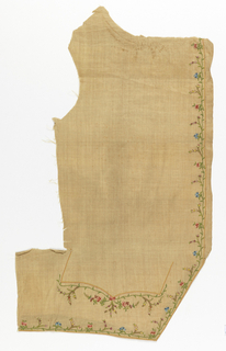 Two fronts and two pocket flaps for man's waistcoat, or cream colored linen, plain cloth, embroidered in colored silks in chain stitch. Delicate vine design ascends front. Flower sprays under and on pockets. Colors: red, pink, green, violet, blue, and yellow. Bottom of some cloth, with worked edges. Buttonholes outlined in color, but not cut.