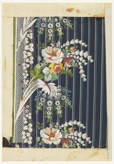Dark blue ground with narrow stripes embroidered in a border design of floral bouquets in multicolored silks and white.
