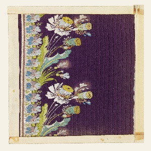 Violet ground embroidered in a border design of rose flowers and seed pods in pale green, light blue, yellow, orange and white.