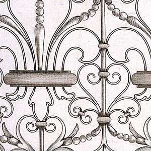 A panel of a wrought iron railing. Showing three fleurs-de-lis in the support.