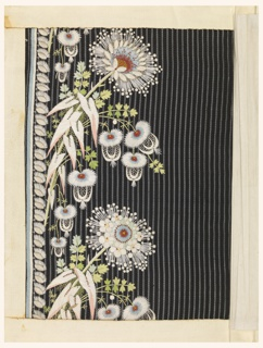 Ribbed blue silk with narrow horizontal stripes embroidered in white and pale colors in a design of fantastic flowers.