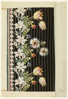 Multicolored silk embroidery in a floral design of tulips and other garden flowers on a black ground with small patterning in purple, yellow and blue.