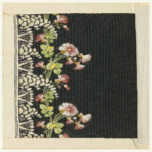Multicolored silk embroidery in a floral design showing roses and sprays on a dark brown ground.
