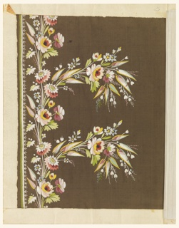 Mutlicolored silk embroidery in a border design of s small-scale vine and flowers with two floral sprays extending from the border on a brown ground.
