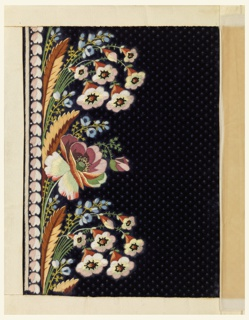 Multicolored silk embroidery with a border design of flower sprays on a black dotted ground.