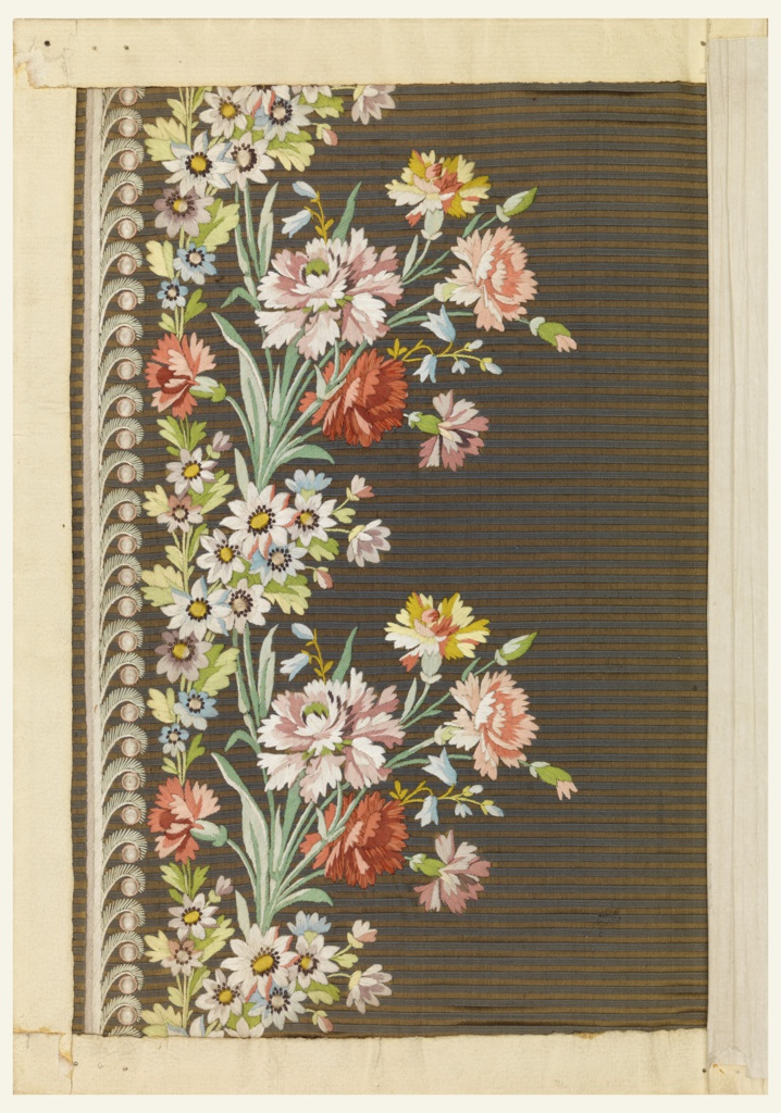 Embroidered sample for men's silk waistcoats, with a design of carnations on a horizontally striped brown ground.