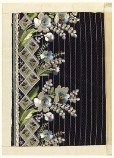 Multicolored silk embroidery in a floral design on a dark blue ground with vertical purple stripes.