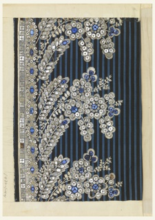 Floral pattern embroidered with white silk and pieces of blue and clear glass on a vertically striped blue and black ground.