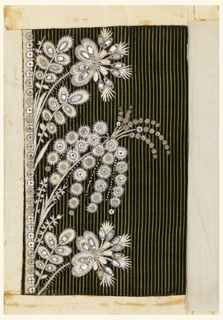 Floral pattern embroidered with white silk and pieces of clear glass on black velvet with vertical green twill stripes.