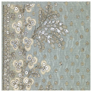 Floral pattern embroidered in white silk, silver wire, clear glass and net applique on a light blue ground.