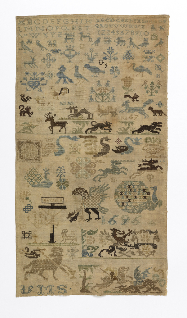 Detached motifs of religious significance plus animals, birds, flowers.