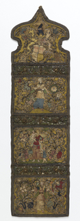 Wall pocket in yellow silk with embroidery in metal threads and applique of silk of human figures with painted faces.