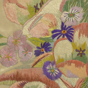 A vase of flowers, freely drawn, in bright colors delicately shaded. Predominantly in pinks and purples with green on a cream-colored ground.
