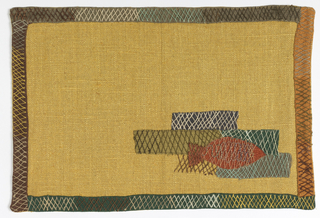 Place mat with appliqued fish in orange on gold color ground.