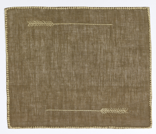 Natural brown linen embroidered in white cotton and linen in a wheat stalk motif.
