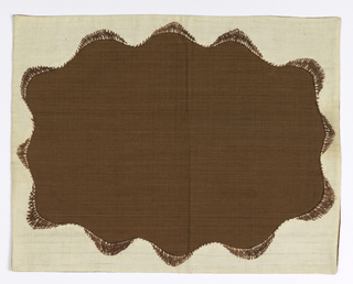 Brown cotton with an applied border of white cotton stitched on with brown cotton thread.