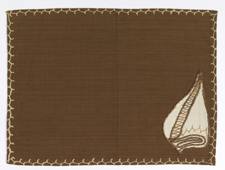 a. White sea shell with brown embroidery appliqued on brown place mat b. Brown sea shell embroidered on white napkin