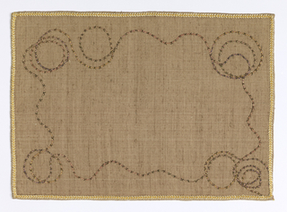 Light brown Thaibok silk with applied twist of straw wound with gold in a meandering pattern and edged in gold braid.