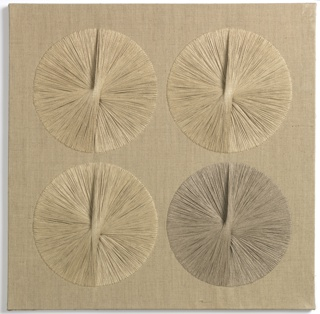 Square panel of stretched, unbleached linen with four circles, each 11.5 inches in diameter, placed in the four quarters of the square. Each circle is produced by the progressive counter-clockwise placing of linen yarns across the diameter of the circle. A relief effect is created in the center of each circle as the yarns cross and build up one upon the other, casting a shadow.