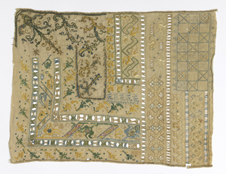 Top left corner has embroidery and bottom left corner alternates areas of embroidery with areas of openwork. Vertical areas of openwork on the right with abstracted or decorative embroidery in between.