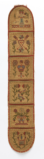 Long narrow wall pocket with five pockets at equal intervals with rounded ends. Each pocket is embroidered. From top to bottom: girl holding a flower and umbrella; two arrows piercing a heart between two plants; crown between two plants; two plants with birds perched on branches; urn of flowers; and a shield with the date 1827 between two plants.