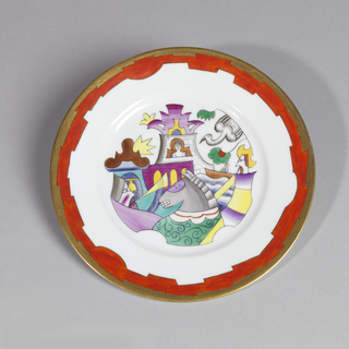 Plate depicting abstract multicolored figures and castle in the background; red and gilt border.