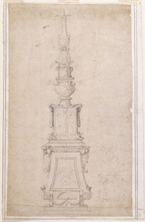 "A candlestick, in elevation, resting on upper and lower pedestals.  The lower pedestal, supported by lion's feet, is flanked by terminal, winged, caryatid cherubim (or seraphim) perching on curling volutes; in between is a central panel depicting a scene of sacrifice (a figure with arms outstretched is between two standing figures flanking a bull (?) splayed on the altar).  Between the lion's paws at the base (on the lowest rectangular block), there is a scalloped lunette with an urn at its center, from which hang paired festoons.  At the top of the lowest pedestal, the wings of the addorsed cherubim terminate in a frontal, bald-headed mask with fin-like jowls. These cherubim support the stepped, base molding (scored with a stylus) of the upper pedestal which is flanked by two ram heads, with garlands hanging from their mouths, above two animal masks. Two cinerary urns in niches decorate the upper pedestal's central panel.  Atop the two-tiered pedestals, the  upper candlestick shaft consists of a vase surmounted by an urn and another upper section.  A baluster crowns the shaft.  Faintly sketched are six branches (three on either side of the upper shaft) to suggest an overall seven-branched candlestick design. At the lower right, two plan sketches with numbers (""8"" and ""5"") indicating, probably, the size of the marble block needed to carve the corresponding sections of the candelabrum (as Sir Timothy Clifford has called it); the numbers correspond to others on the more finished drawing.  Some believe the design might have been intended to be realized in metal."