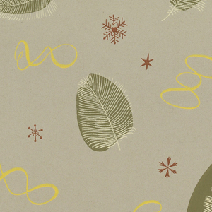 Random arrangement of freely drawn olive green leaves with white veining and stems. These alternate with twisting yellow narrow robons. Small reddish-brown star and crystal forms are scattered at random, printed on glazed gray ground.