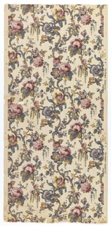 On beige ground, printed to simulate ebossed linen pattern, stems with roses and purple and blue flowers, bluish leaves with yellow accents. Drop repeat, straight match.