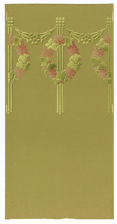 Green ground with tiny checker pattern. Upper part of length has horizontal pattern of pink flowers and green ivy wreaths and three vertical lines. Straight match.