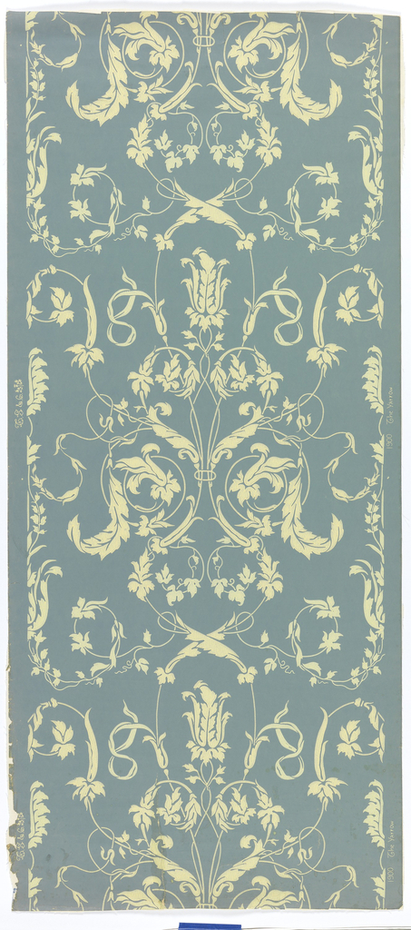 """Against a soft blue ground, a delicate all-over arabesque pattern of leaves, vines and blossoms are printed in one value of pale yellow. Printed in margin: """"1900, The Yarrow, TS & Co."""""""