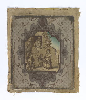 "Three pieces, with scenes, inscribed ""Savoyards."" a: Recto, small central cartouche, containing two figures in a street scene.  Printed in grisaille and dark blue, on a gray, patterned ground.  Mounted on burlap.  Verso, figural landscape with fox and duck hunting scenes, printed in monochrome brown with attached border; b: Recto, large central cartouche, containing musical scene with two women and two children.  ""Savoyards"" inscribed below scene.  Printed in grisaille and dark blue, on a gray, patterned ground.  Mounted on burlap.  Verso, figural landscape with fox and duck hunting scenes, printed in monochrome brown with attached border; c: Recto, large central cartouche, containing peasants toasting with dog.  ""Plus heureux qu'un roi (More happy than a king)"" inscribed below scene.  Printed in gresaille and dark blue, on a gray, patterned ground.  Mounted on burlap.  Verso, figural landscape with fox and duck hunting scenes, printed in monochrome brown with attached border."