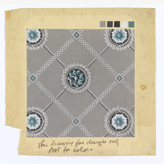 "Color mock-up for ""Rosette"" reproduction. A diamond trellis or plaid design, with floral rosettes at the intersection of the finer lines. Painted in white, black and green on a gray ground."
