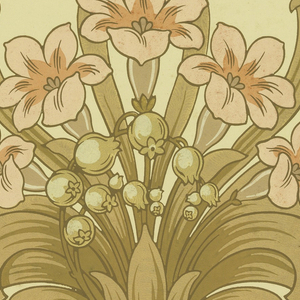 Art nouveau style, with gloxinia flowers.