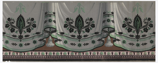 Bottom border of drapery paper. Printed in gray, green, pink, brown with black flock.