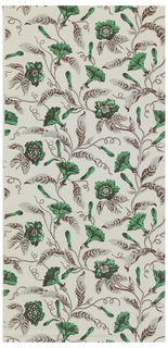 Climbing, flowering vines, printed in gray, brown and green on a gray ground.