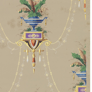 Stylized Egyptian vase shape. Vase contains exotic foliage with jewel-like pendants.