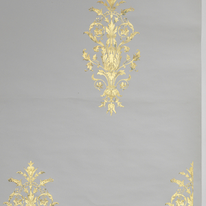 Stamped large-scale gold ornament on white ground, in the neo-grec style.