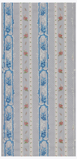 Rococo-revival style floral stripe design. Assymetrical scrollwork and floral bouquets. Printed in gray, white, blue and pink on gray ground.